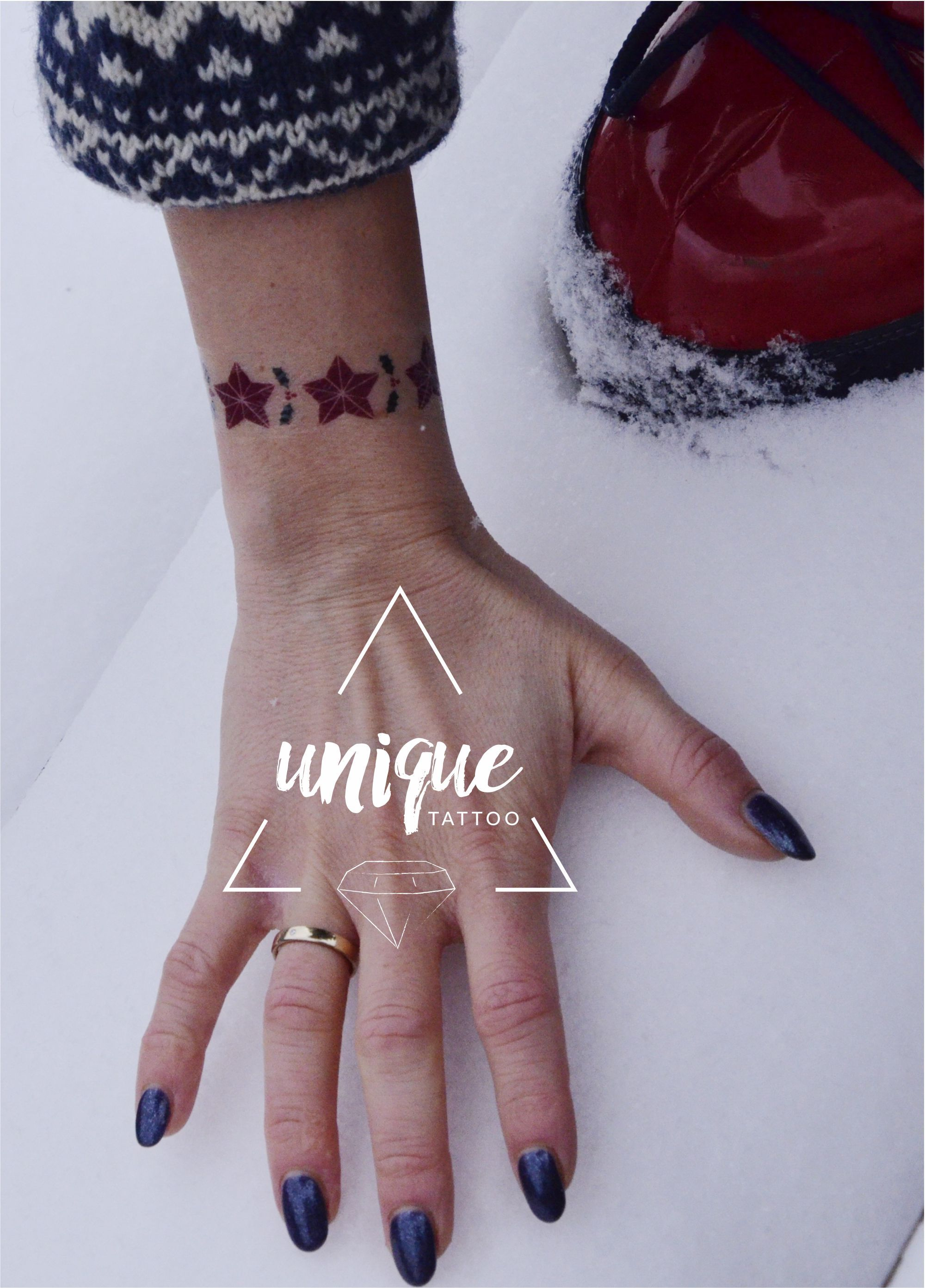 Christmas Tattoo Tatuaze Zmywalne Swieta Bransoletka Sniezynka