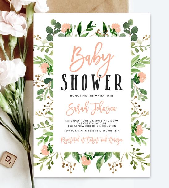 Instantly Personalize  Editable Baby Shower Invitation Template