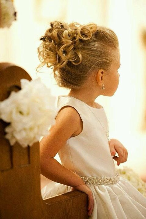 Updo With Curls Cute Little Girl Hairstyles Girls Updo Flower