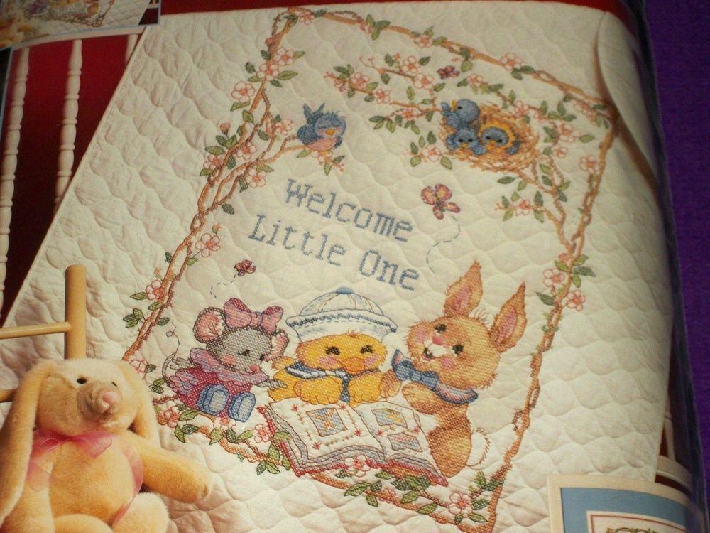 Dimensions Stamped Cross Stitch Kit Welcome Little One Baby Quilt ... : stamped cross stitch baby quilt kits - Adamdwight.com