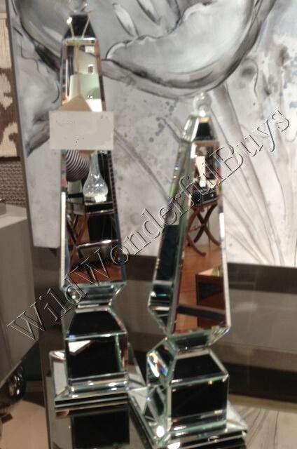 Set 2 Mirrored Obelisk Finials Home Decor Accents Pair Mirror