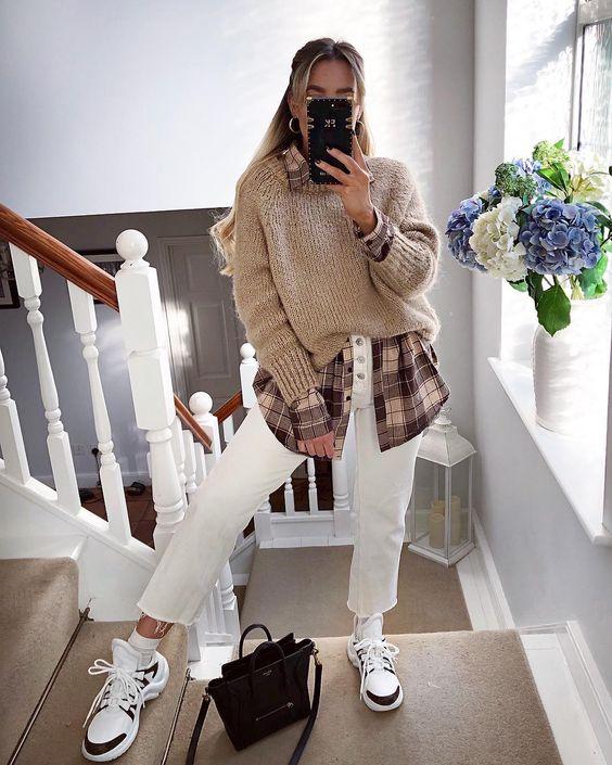 16 небанальных сочетаний рубашки и свитера на каждый день  Новости моды
