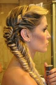 A fish tail braid to the side