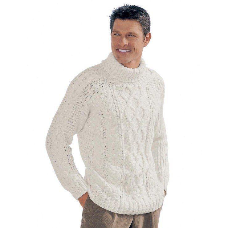 мужской свитер спицами схема описание как связать мужской свитер