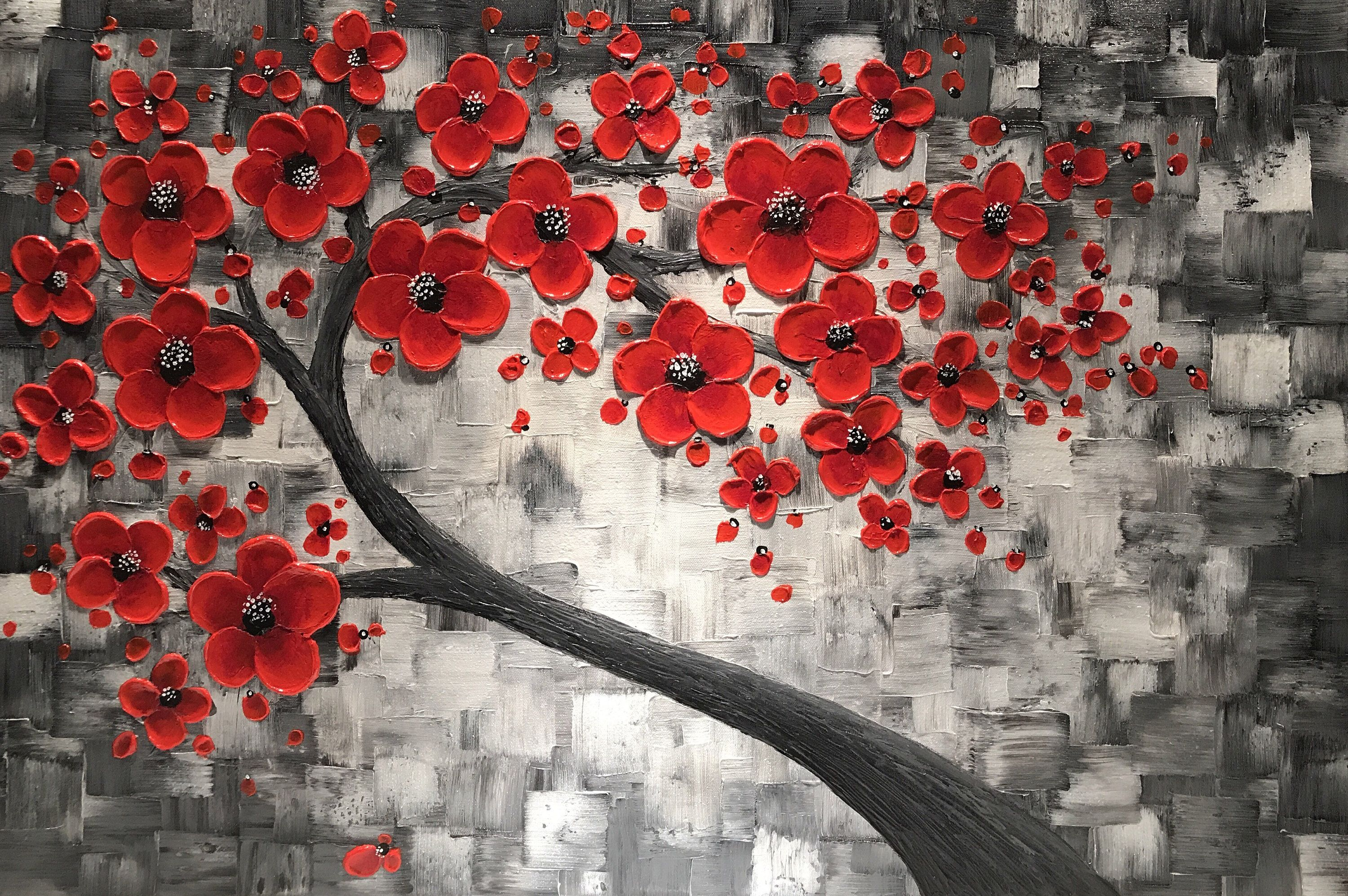 Red Cherry Blossom Tree Painting Large Impasto Abstract Art Etsy Tree Painting Abstract Tree Painting Painting