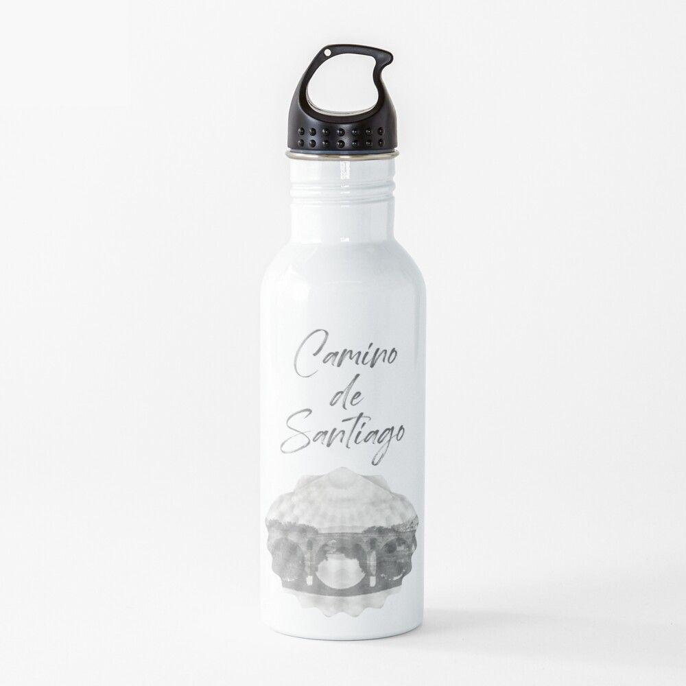 Botella de agua de acero inoxidable con una vieira y el texto camino de Santiago