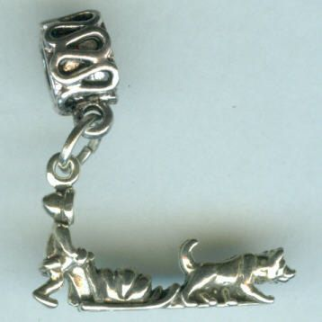 925 Sterling Silver Heavy 3D Husky Dog Charm