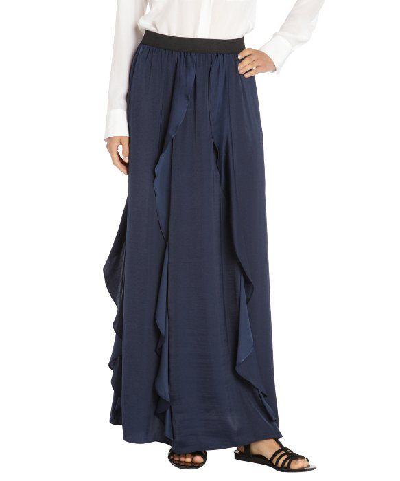 BCBGMAXAZRIA dark ink side ruffle maxi skirt