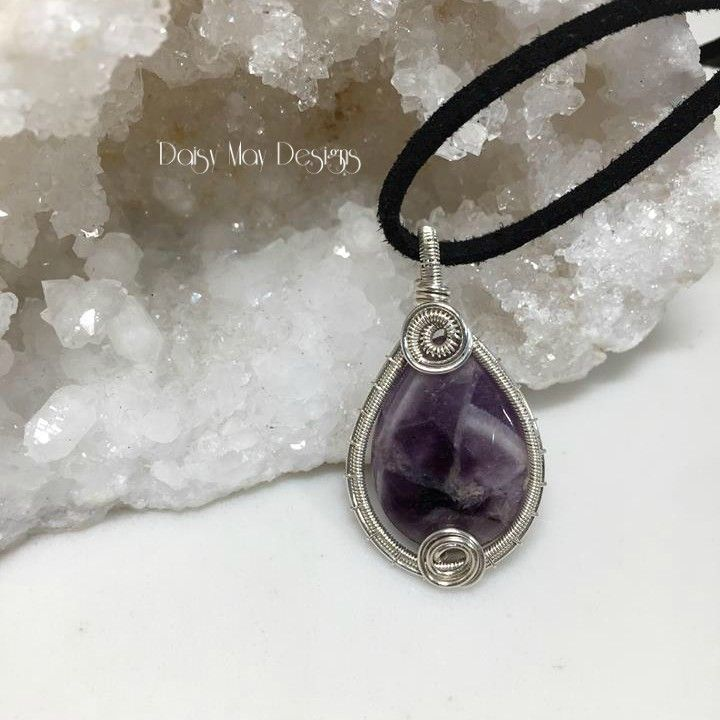 246 - Natural Amethyst sterling silver wire wrapped jewelry necklace ...