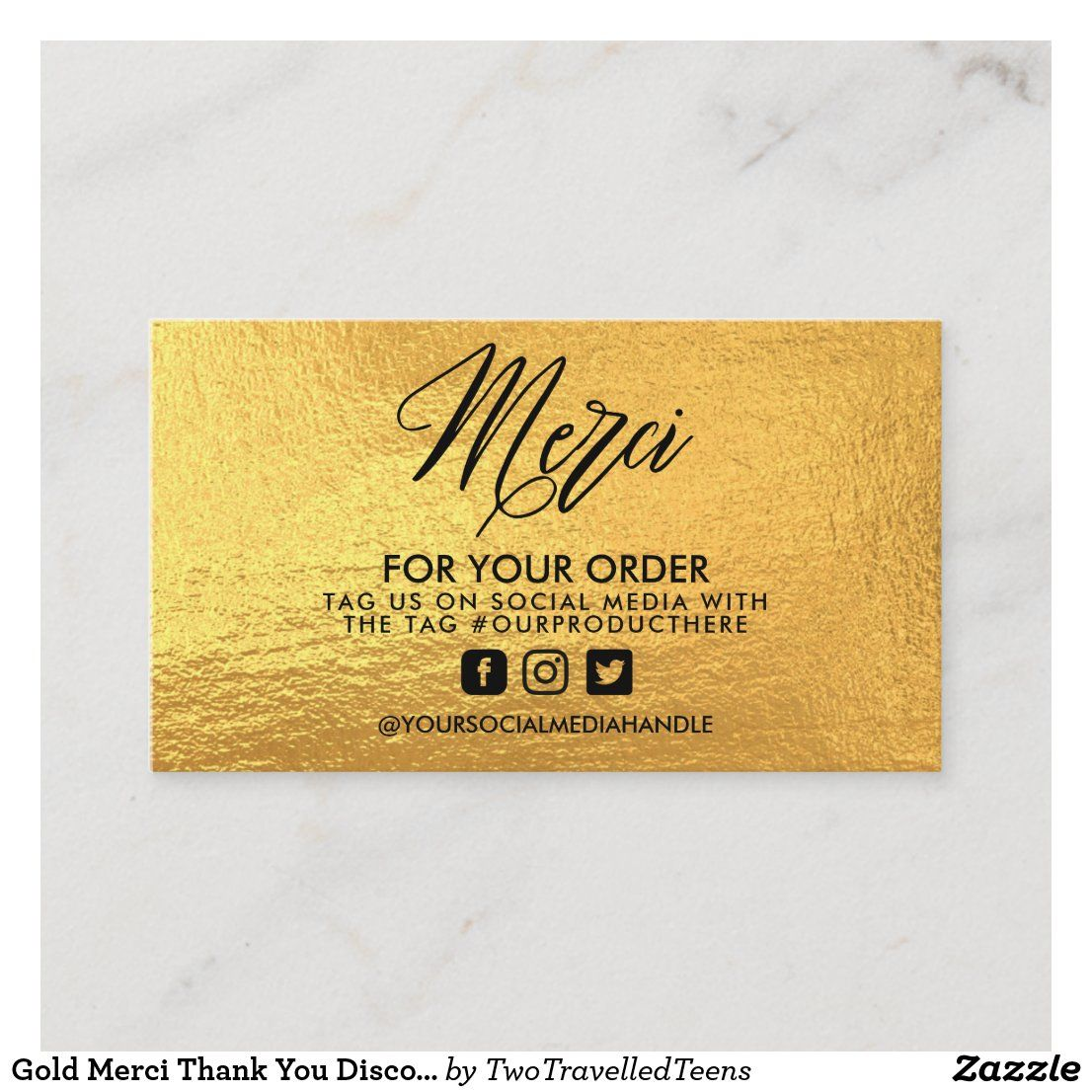 Gold Merci Thank You Discount Sale Business Card Zazzle Com Discount Sale Business Cards Cards