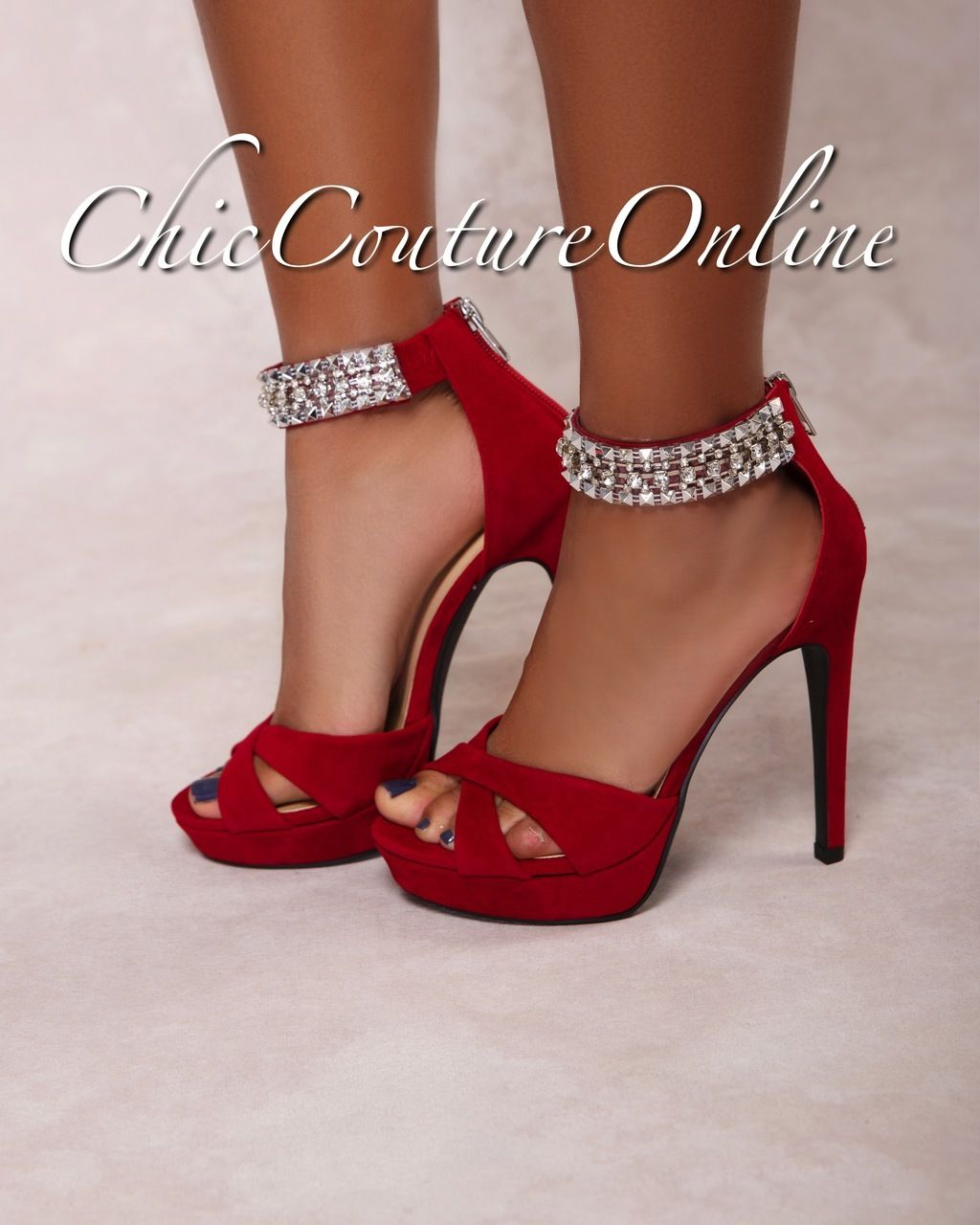 new style watch sports shoes Pico Deep Red Rhinestones Ankle High Heel Sandals | fastion ...
