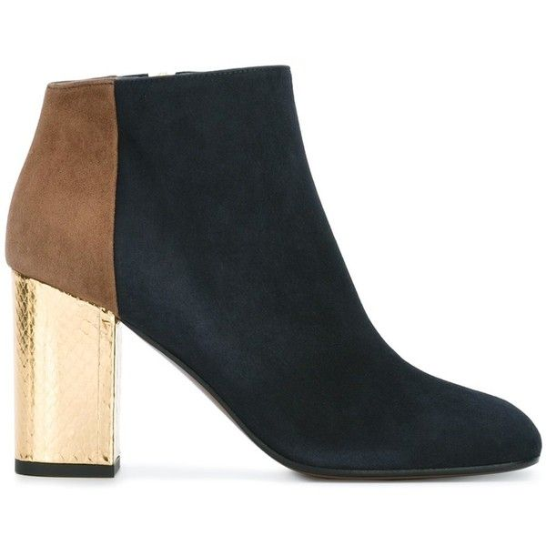 Marni Contrasting Heel Ankle Boots ($1,010) ❤ liked on Polyvore featuring shoes, boots, ankle booties, blue, blue ankle boots, leather bootie, square toe boots, leather ankle booties and ankle boots