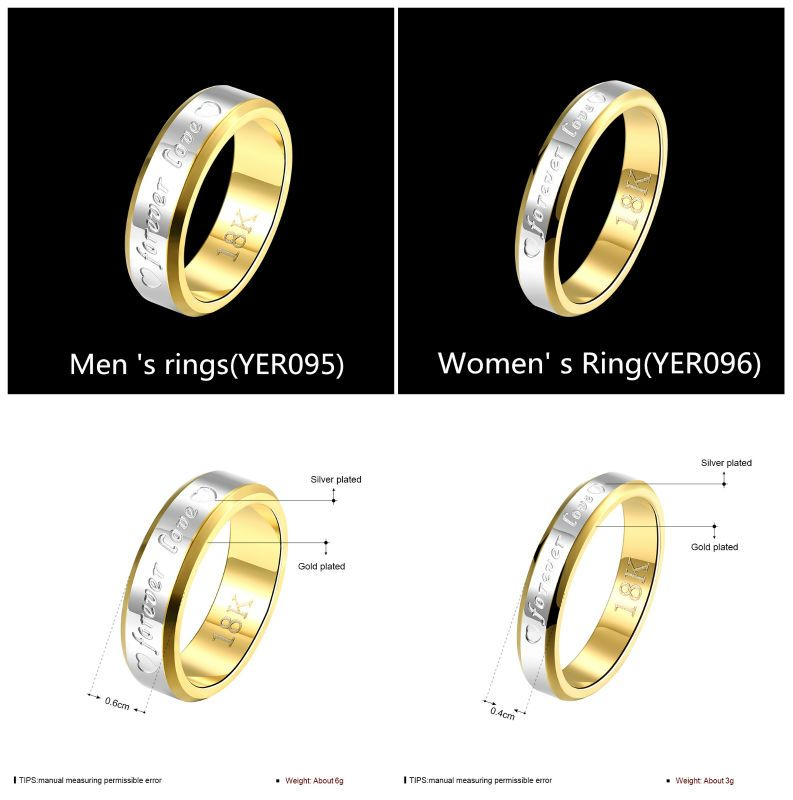 Yierlove Fashion Double Color Titanium Letters Forever Love Couple