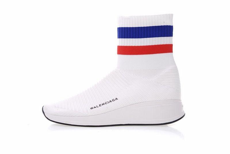 43d38145dedd Low Price Balenciaga Speed stretch Knit High White Blue Red 433214 WOXH8681