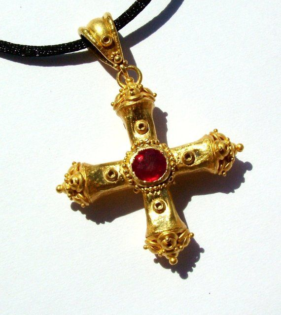 22k gold Ruby Square cross, Greek cross, Handcrafted, one of