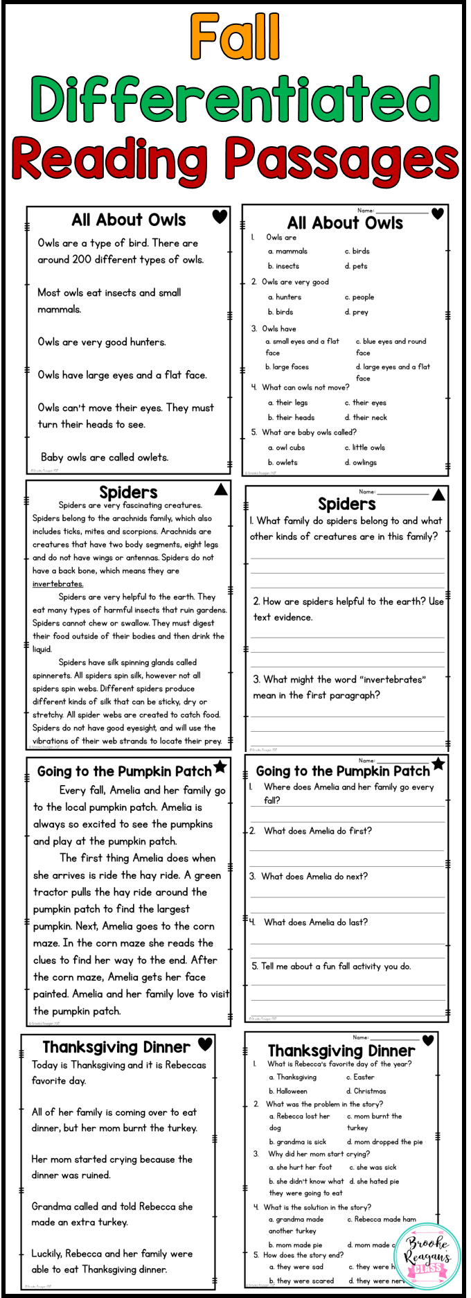 Fall Reading Passages Differentiated Levels To Meet Your Students Needs Perfect For Re Differentiated Reading Reading Comprehension Passages Reading Passages [ 1873 x 680 Pixel ]