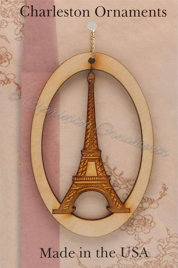 Unique EIFFEL TOWER Wooden Ornament Handmade Ornaments  Gifts