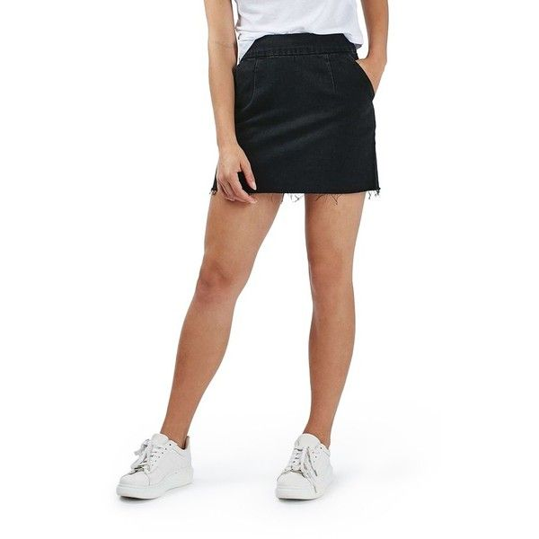 Women's Topshop Raw Hem A-Line Denim Skirt ($52) ❤ liked on Polyvore featuring skirts, washed black, high-waisted skirts, denim skirt, high-waist skirt, a line denim skirt and wide skirt