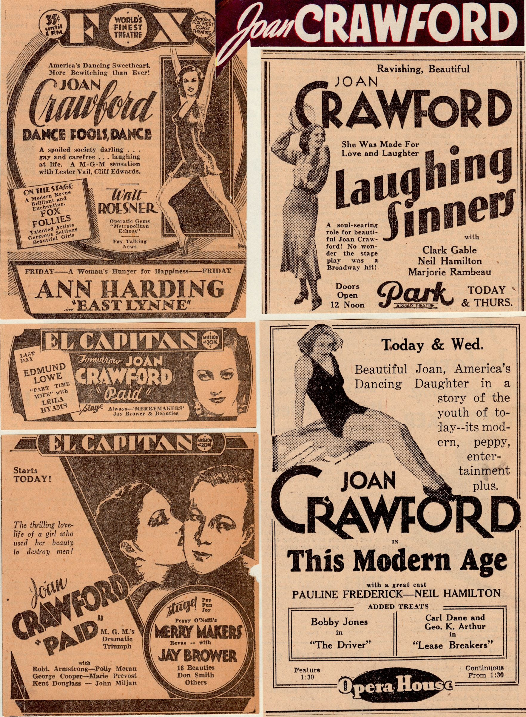 How to scrapbook newspaper clippings - Joan Crawford Vintage Clippings Of Newspaper Movie Ads Early 30 S From My Scrapbooks Minkshmink
