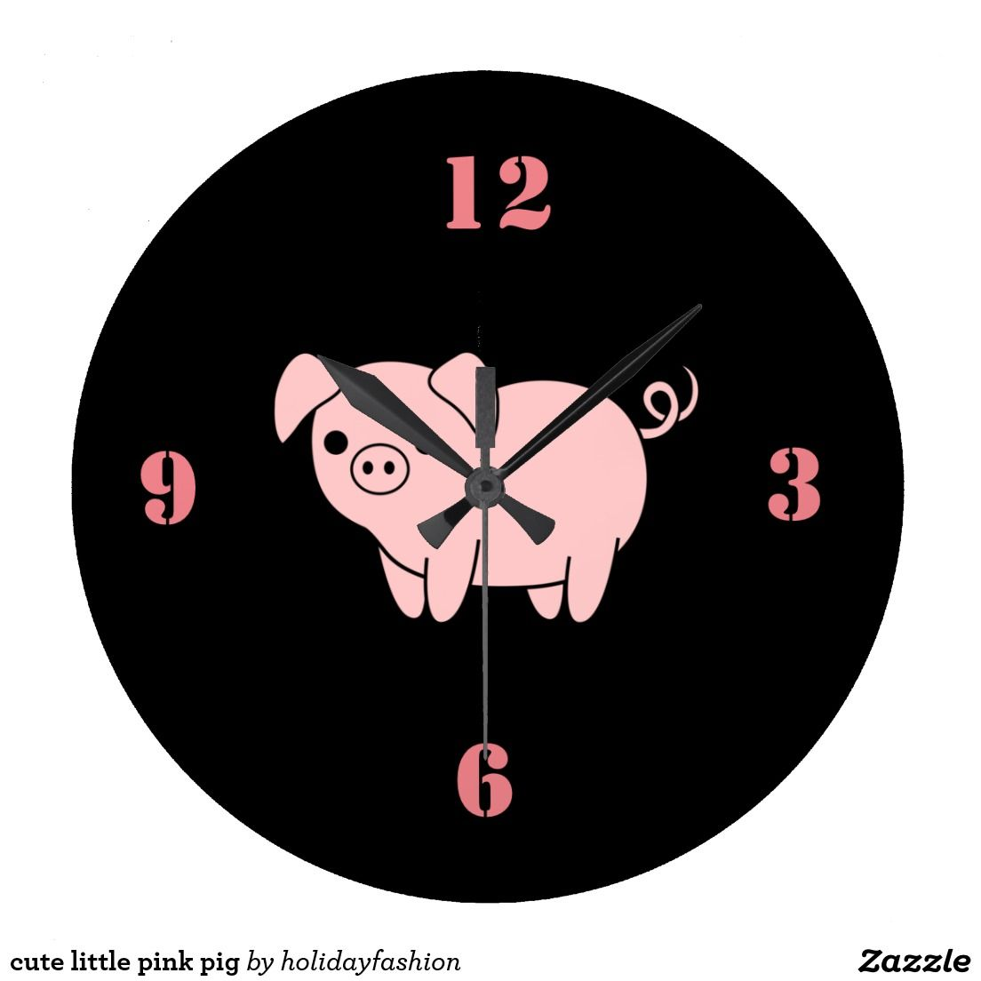 cute little pink pig large clock