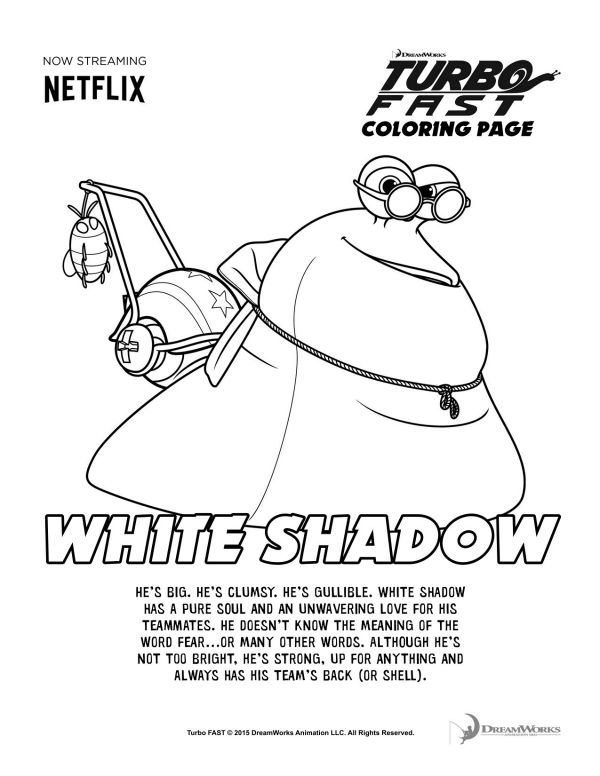 Turbo Fast White Shadow Coloring Page Printable Coloring Pages