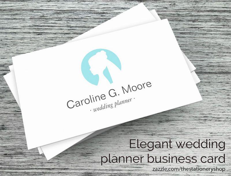 Elegant Wedding Planner Or Stylist Business Card With Aqua Blue Bride Logo A Modern