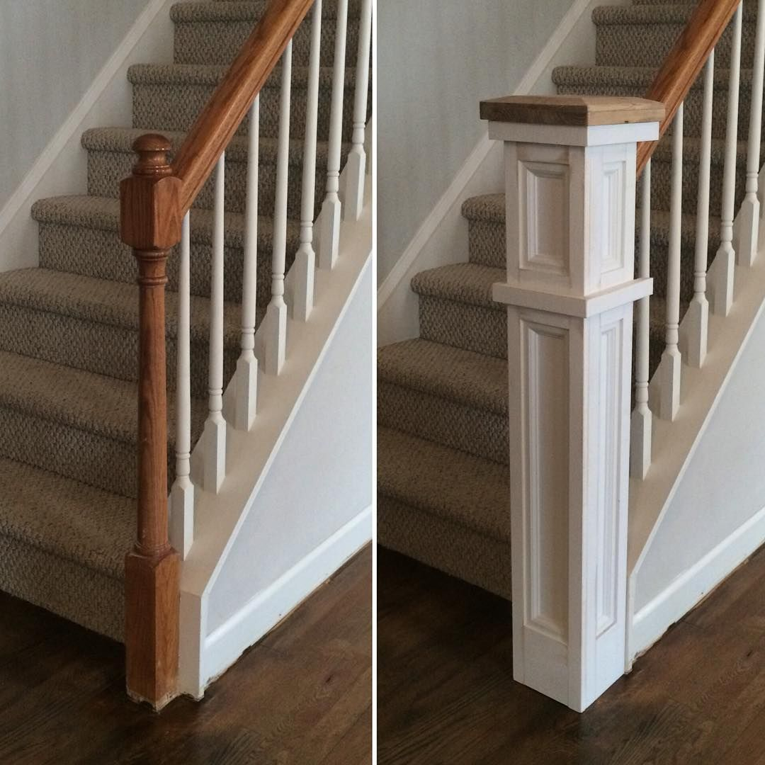 Rebuild On Instagram Before And Almost After Of The Stair Railing Work Newel Post Cap Is