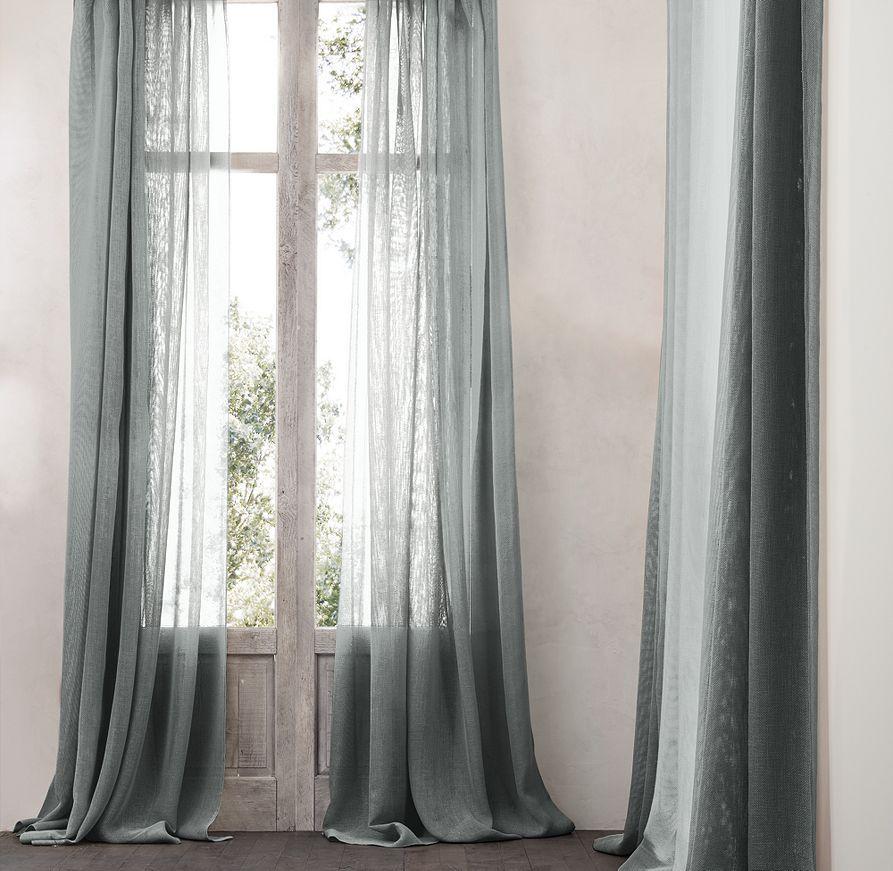 Rh Open Weave Sheer Linen Drapery In Fog Livingrm Pinterest Open Weave