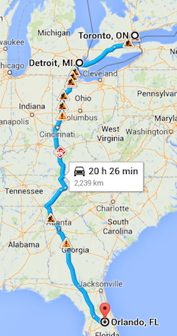 Florida Driving Map.Our 24 Hour Straight Drive From Toronto To Wdw This Is How We Do It