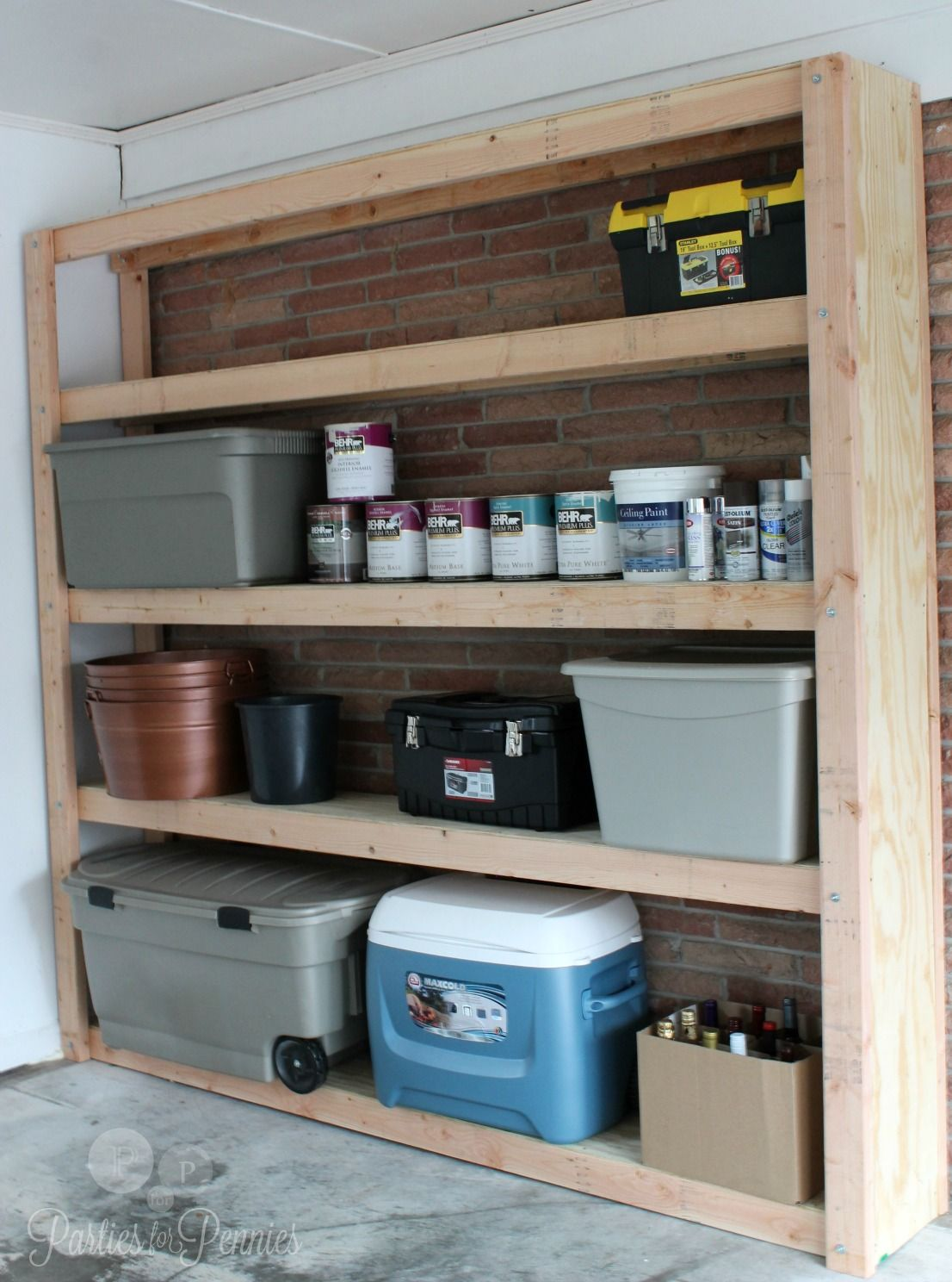 Garage Shelving Unit By PartiesforPennies.com. Free Printable Plans To Make  Your Own!