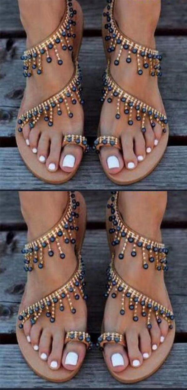 Hot Sale!Bohemian Flat Peep Toe Casual Date Flat Sandals