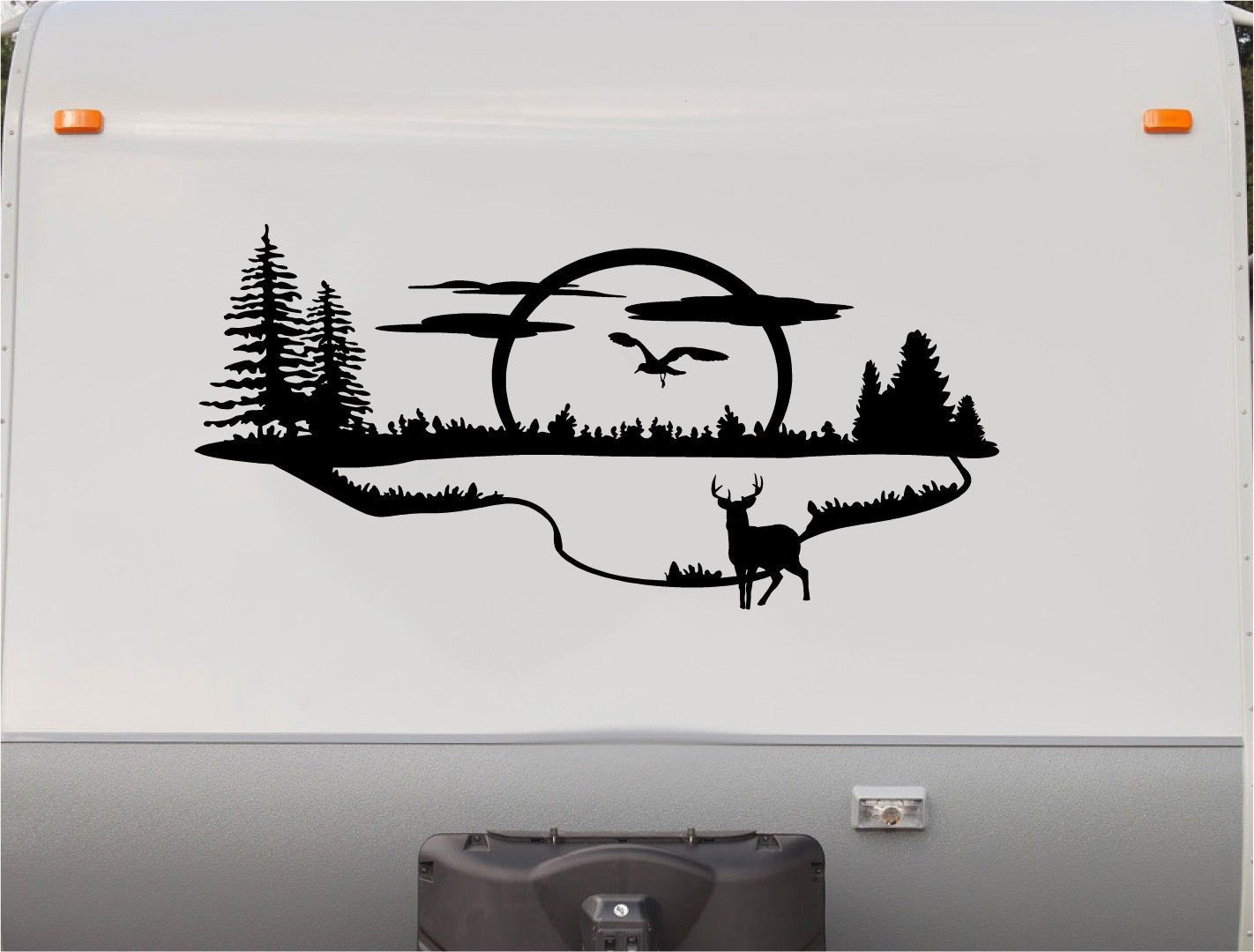 Mountains lake deer rv camper 5th wheel motorhome vinyl decal sticker graphic custom text mural v03