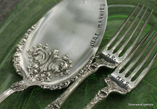 Victorian Era Silverware Wedding Mr And Mrs Forks Cake Server Set Avon 1901