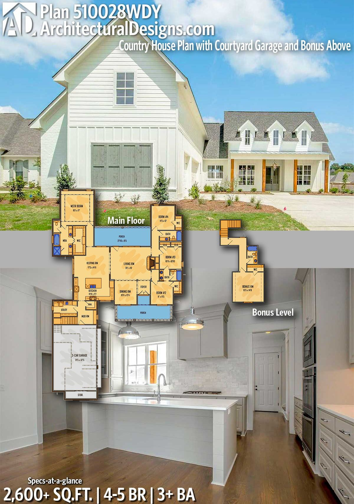 5 bedroom loft floor plans  Plan WDY Country House Plan with Courtyard Garage and Bonus