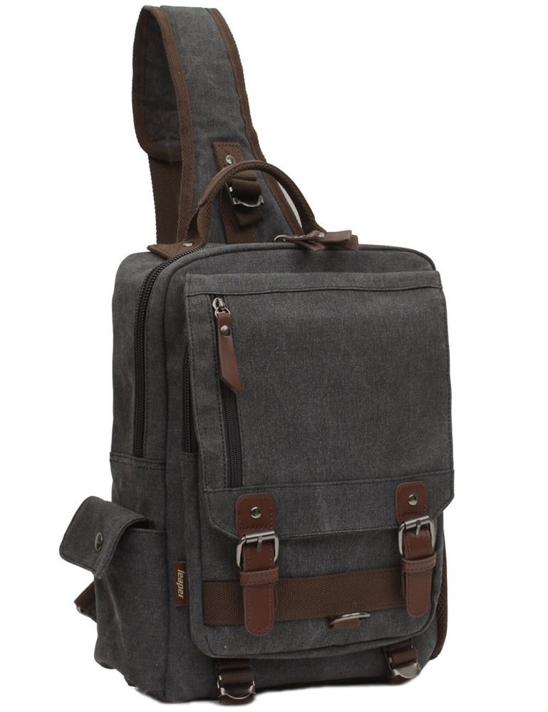 629ed73637  28 Men Sling Bag Message Hiking Outdoor Cross Body Messenger Canvas Travel  Backpack