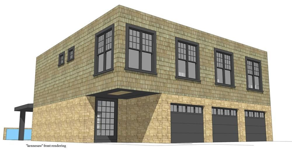 116-1018 This is the front elevation for these Modern Home Plans