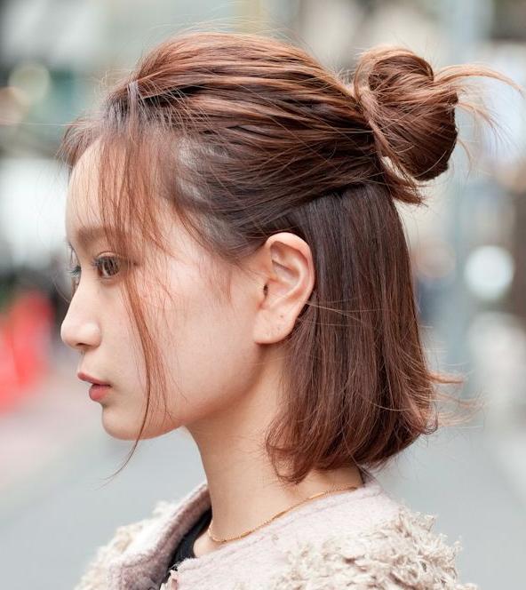 Half Up Bun Medium Hair Styles Medium Length Hair Styles Korean Short Hair