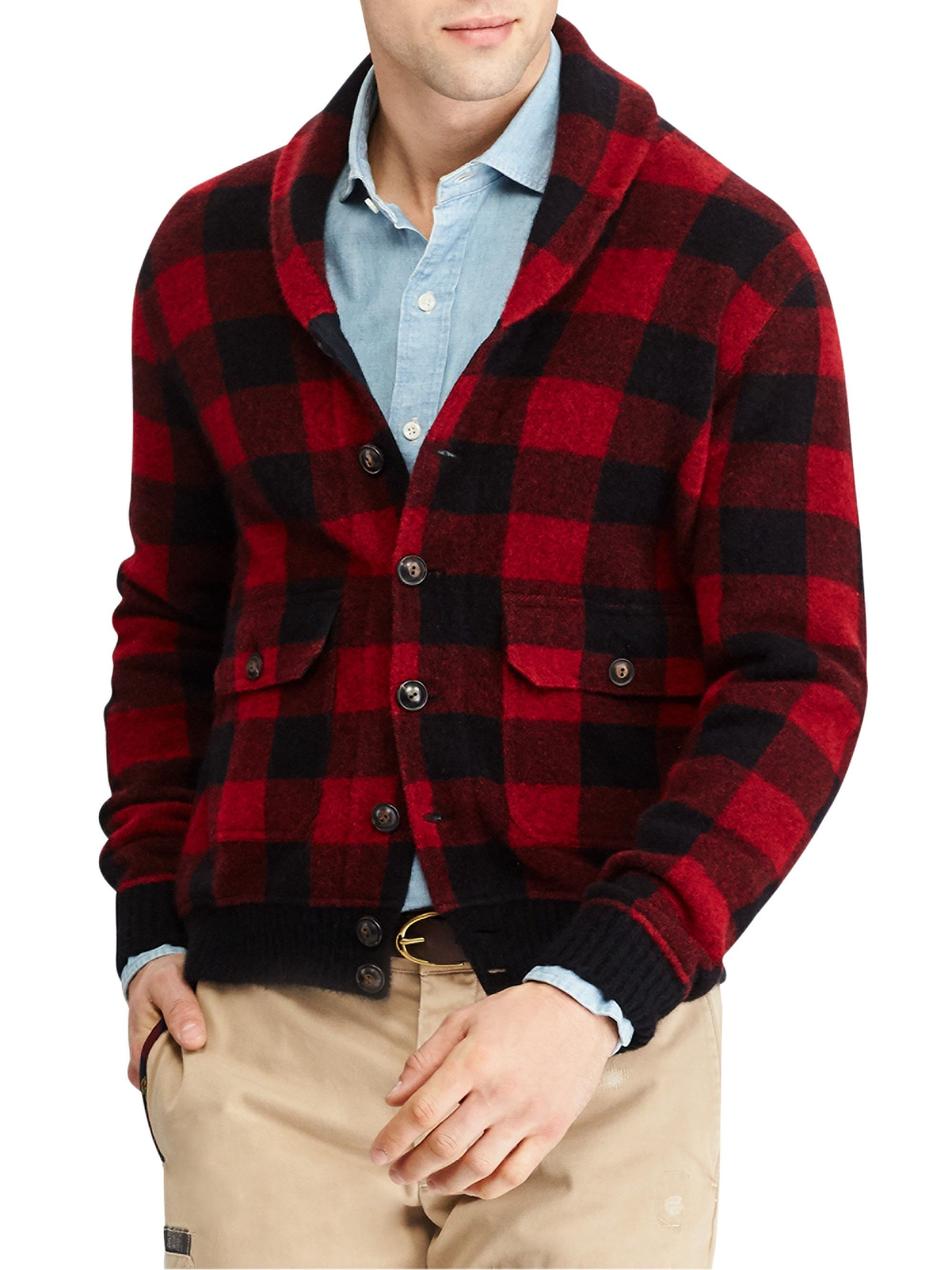 Ralph Lauren Flannel Skeet Jacket Red Black Small