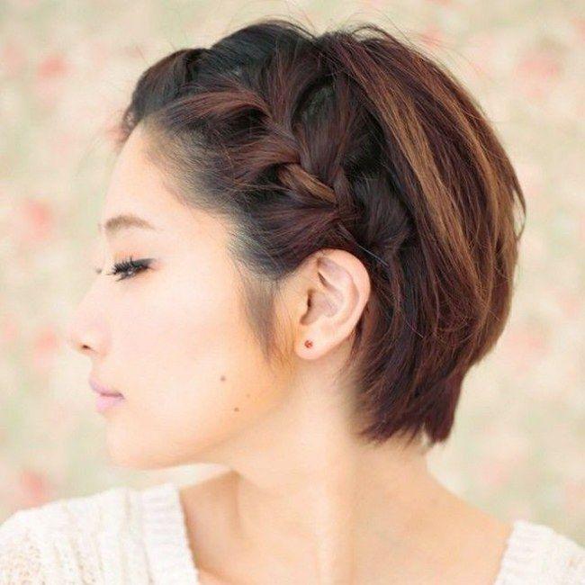 Treccia capelli lisci corti