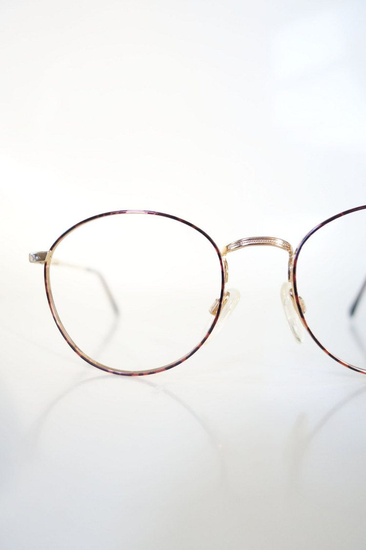 f84843ed92 Vintage Round 1980s Metal Eyeglasses Womens P3 Smarty Nerdy Glasses ...