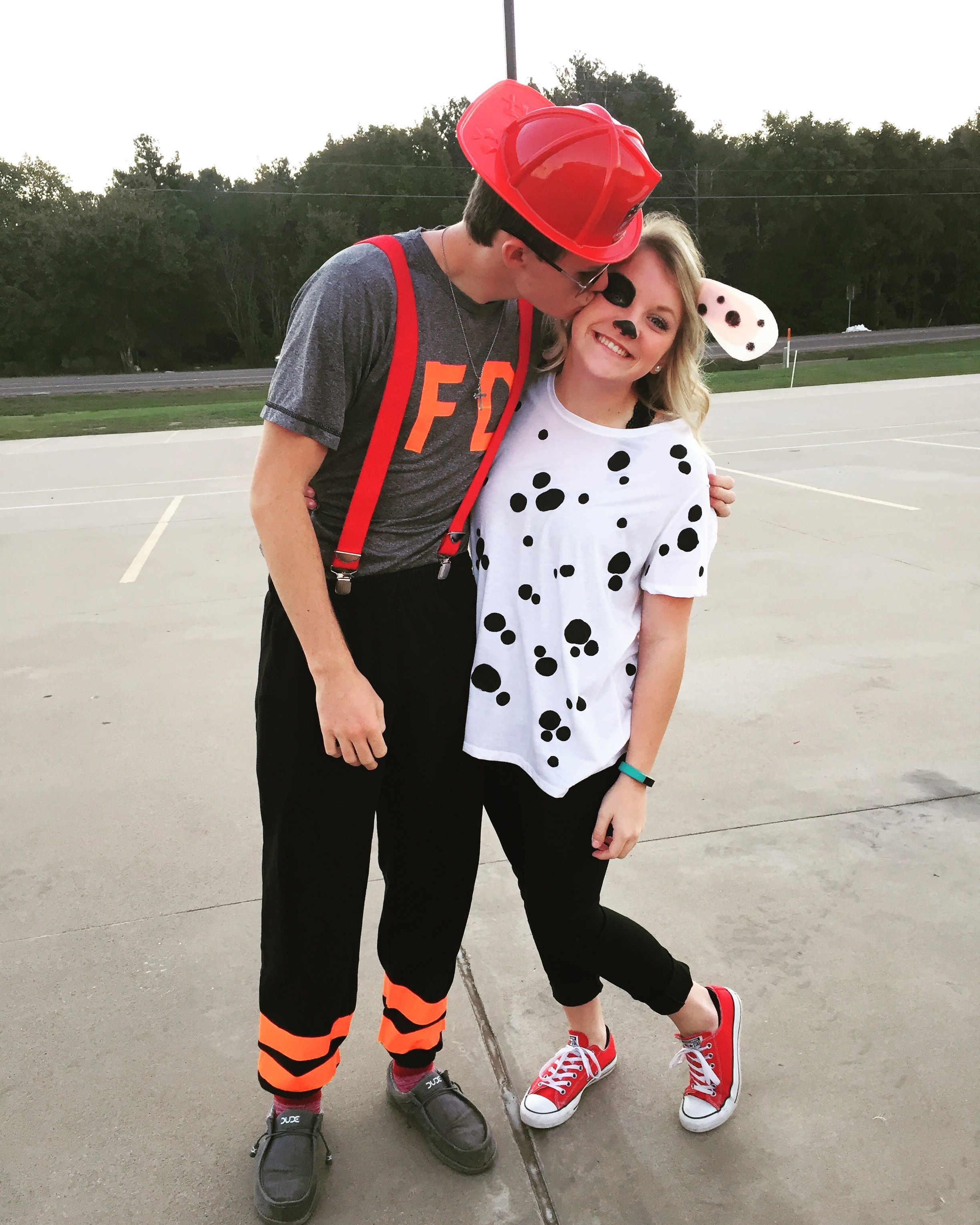 Halloween Couple Costume Firefighter And Dalmatian Cute