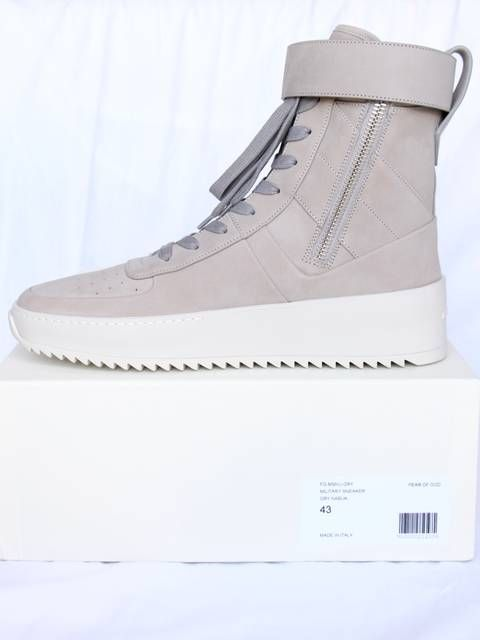 new concept 0d387 9c7b7 Fear of God Grey Military Sneakers