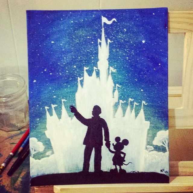 Acrylic On Canvas Board Disney Mickey Painting