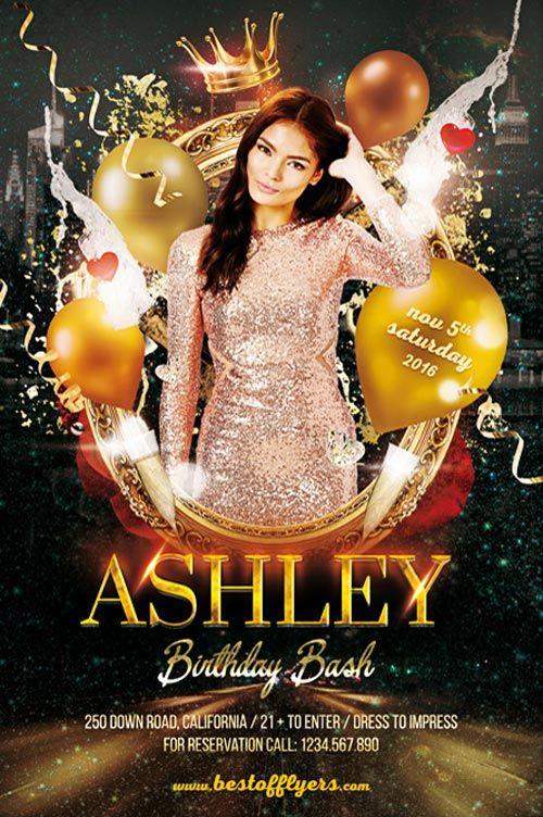Birthday Bash Party Flyer Template  HttpFreepsdflyerCom