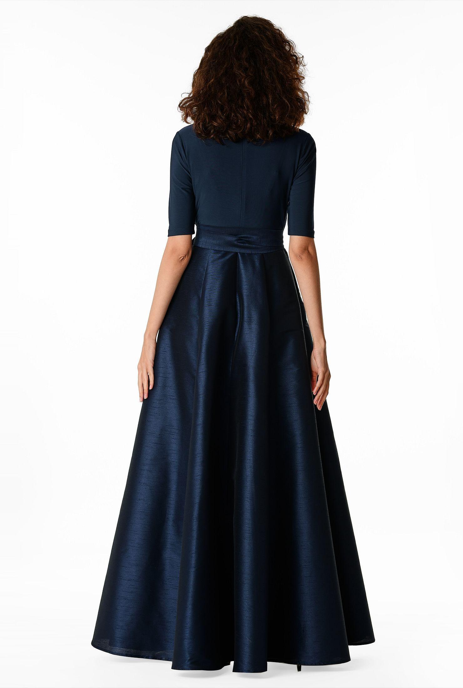 Shop Mixed Media Surplice Maxi Dress Eshakti Maxi Dress Dresses Mob Dresses [ 2200 x 1480 Pixel ]