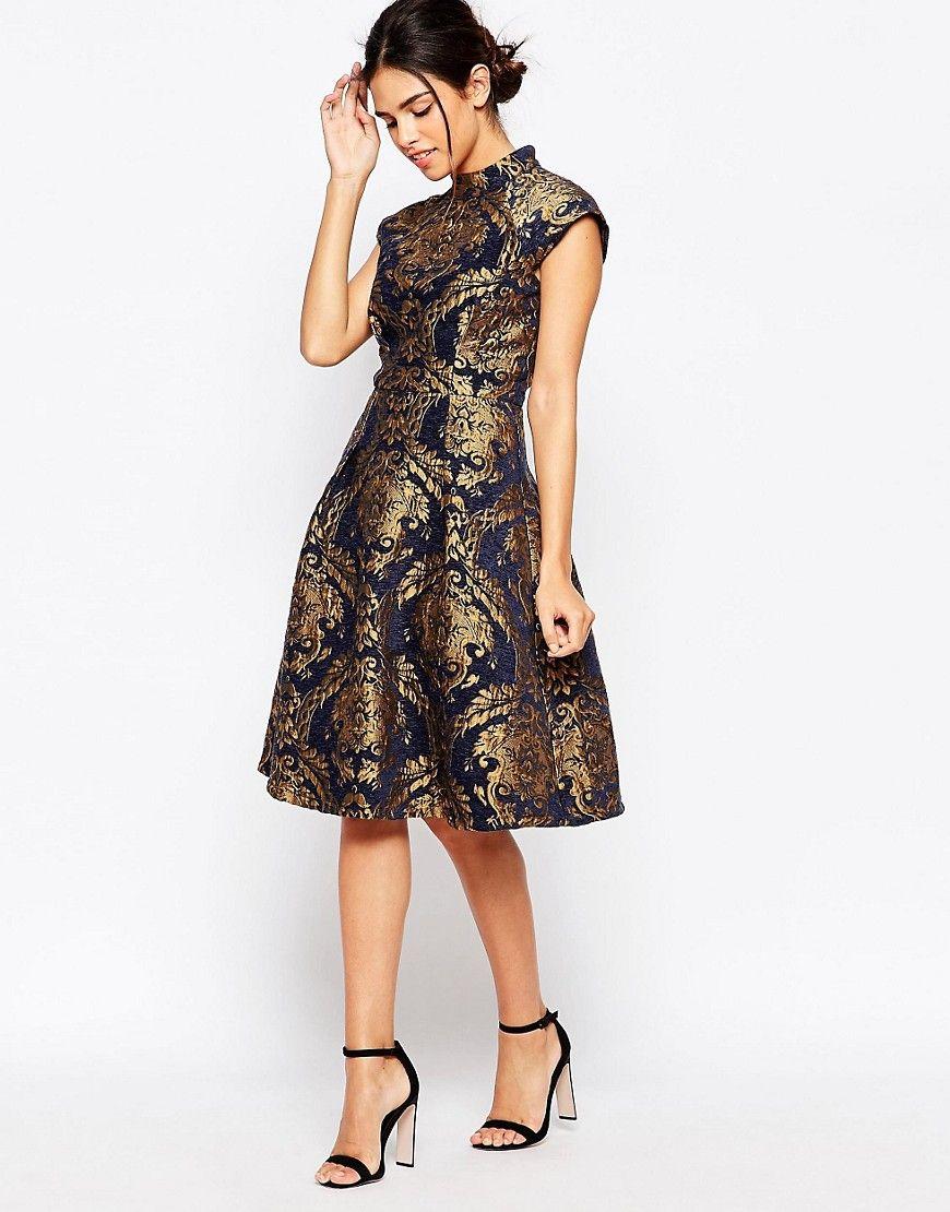 0704f316 Super cool Chi Chi London High Neck Structured Skater Dress In Baroque  Print Chi Chi London Kjoler til Damer til enhver anledning