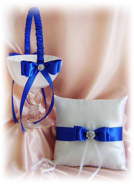 Wedding Ring Pillow And Basket Royal Blue Horizon Blue Ring Bearer