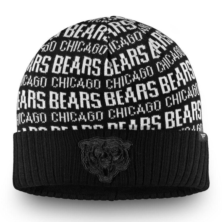 5b8ab1879 Men s Chicago Bears NFL Pro Line by Fanatics Branded Black Black   White  Logo Cuffed Knit Hat