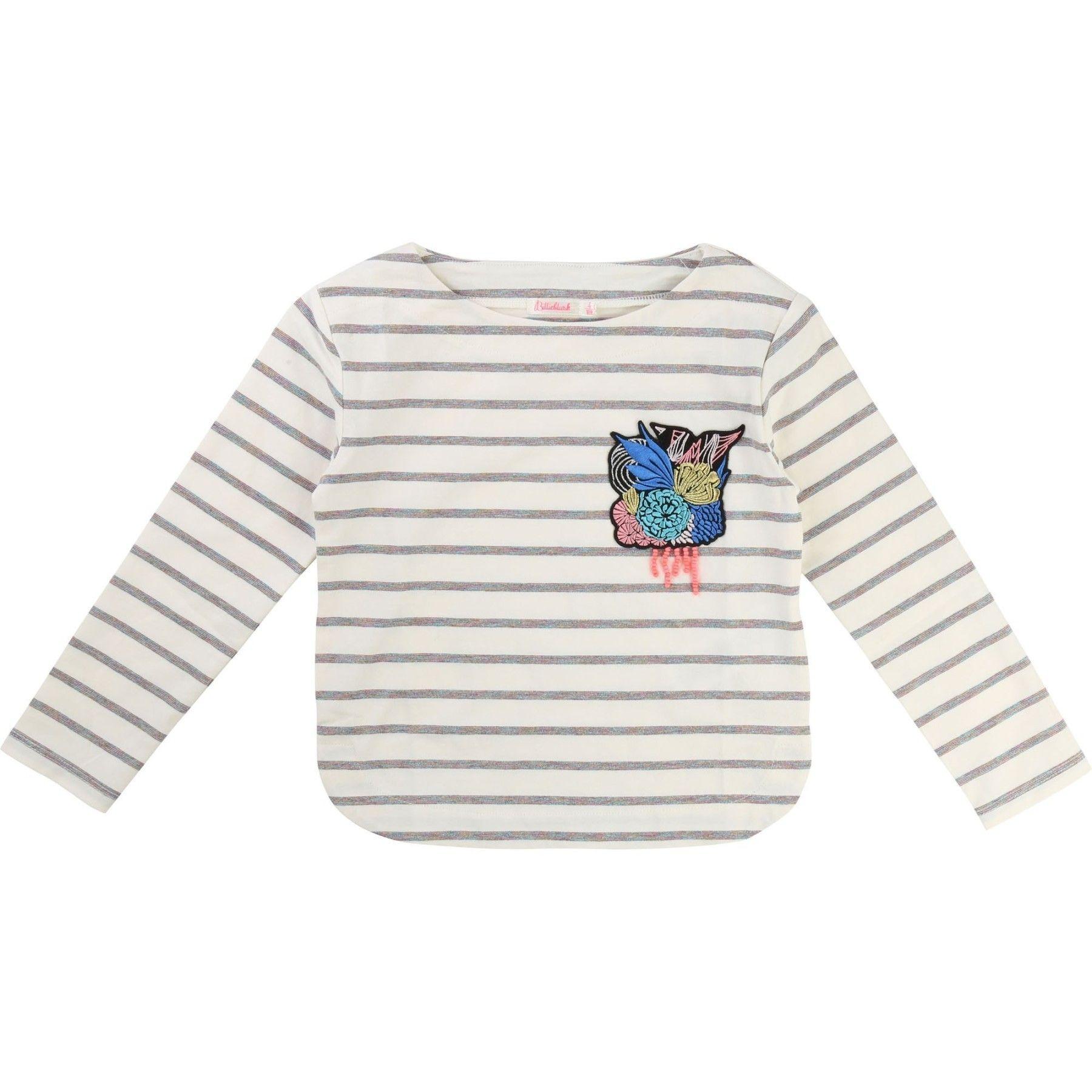 Jolie tshirt en jersey à rayures multicolores et brillantes grâce