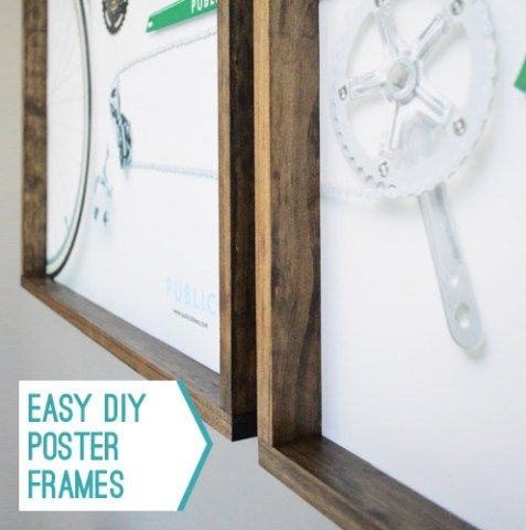 Making Easy Wood Frames For Large Art Or Posters With Images Diy Poster Frame Diy Frame Diy Picture Frames